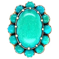 Beautiful Large Turquoise Cluster Gold Statement Ring Fine Estate Jewelry