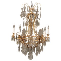 Beautiful Late 19th Century Gilt Bronze and Crystal Ten-Light Chandelier