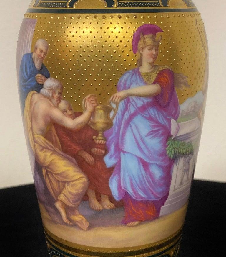 Belle Époque Beautiful Late 19th Century Royal Vienna Porcelain Vase Depicting Apollo For Sale