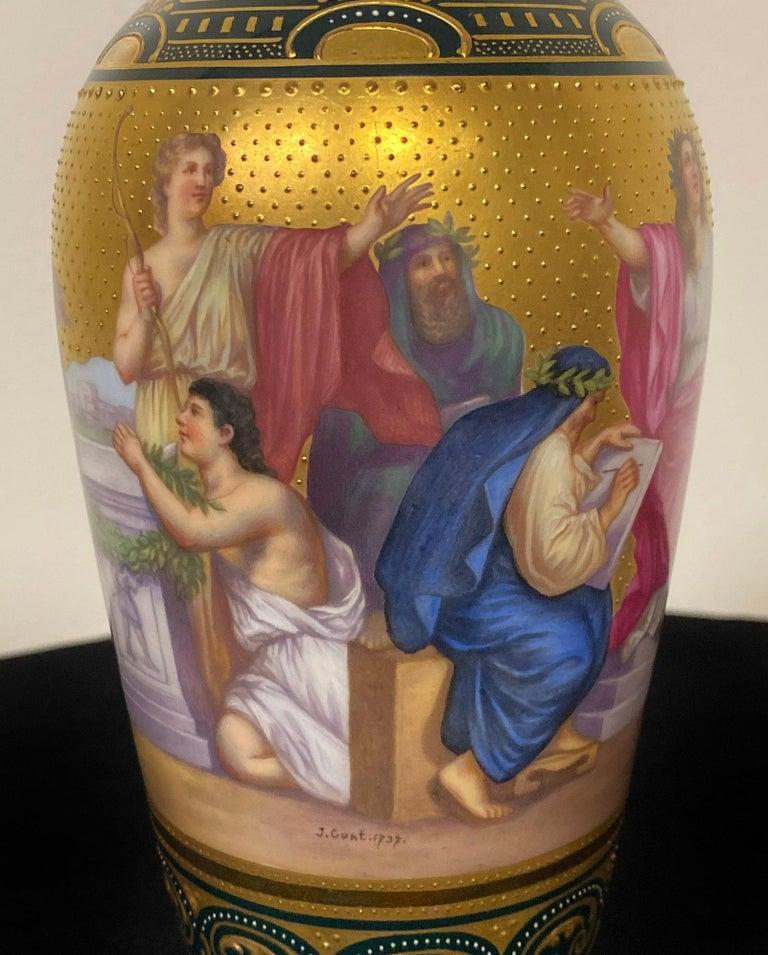 Austrian Beautiful Late 19th Century Royal Vienna Porcelain Vase Depicting Apollo For Sale