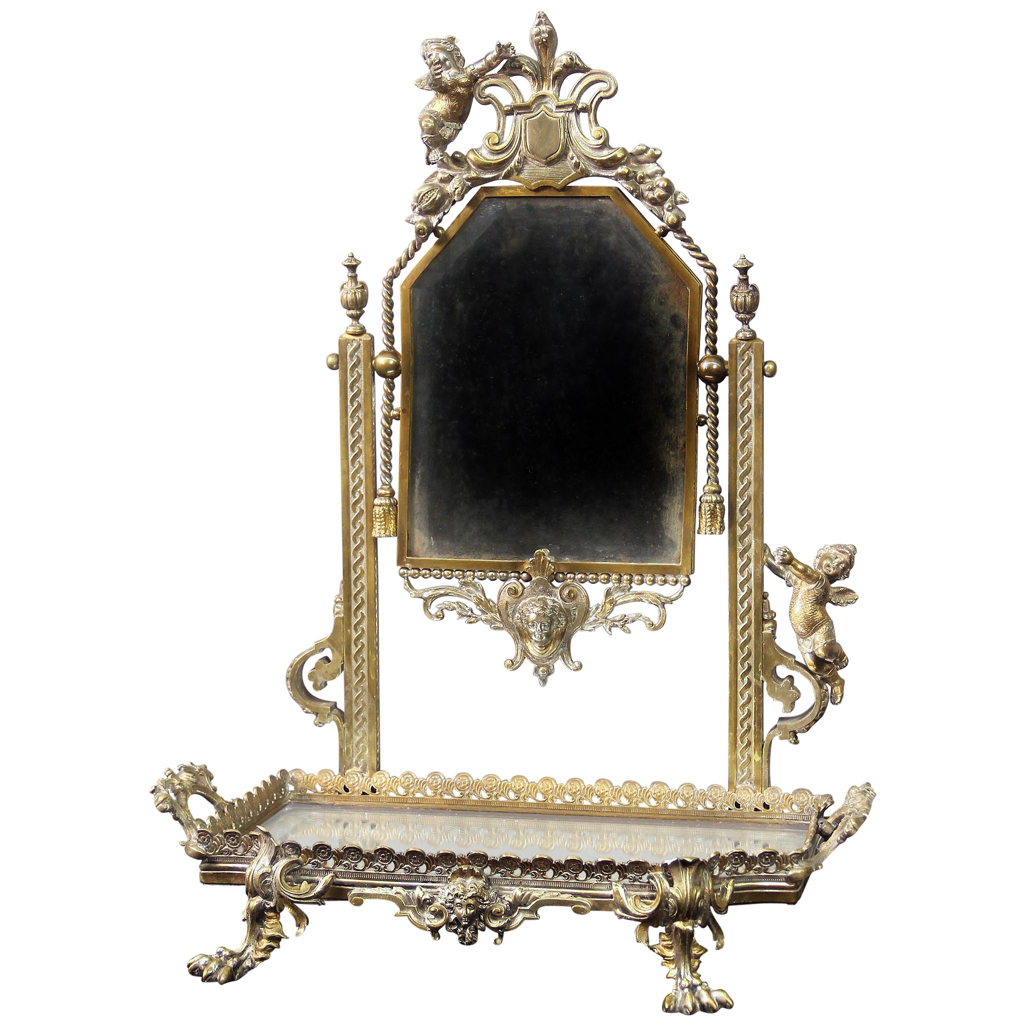 Beautiful Late 19th Century Silver Plated Dressing Table Mirror