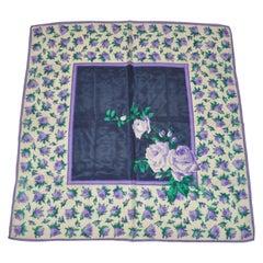 "Beautiful ""Lavender & Violet Rose Floral"" Silk Scarf"