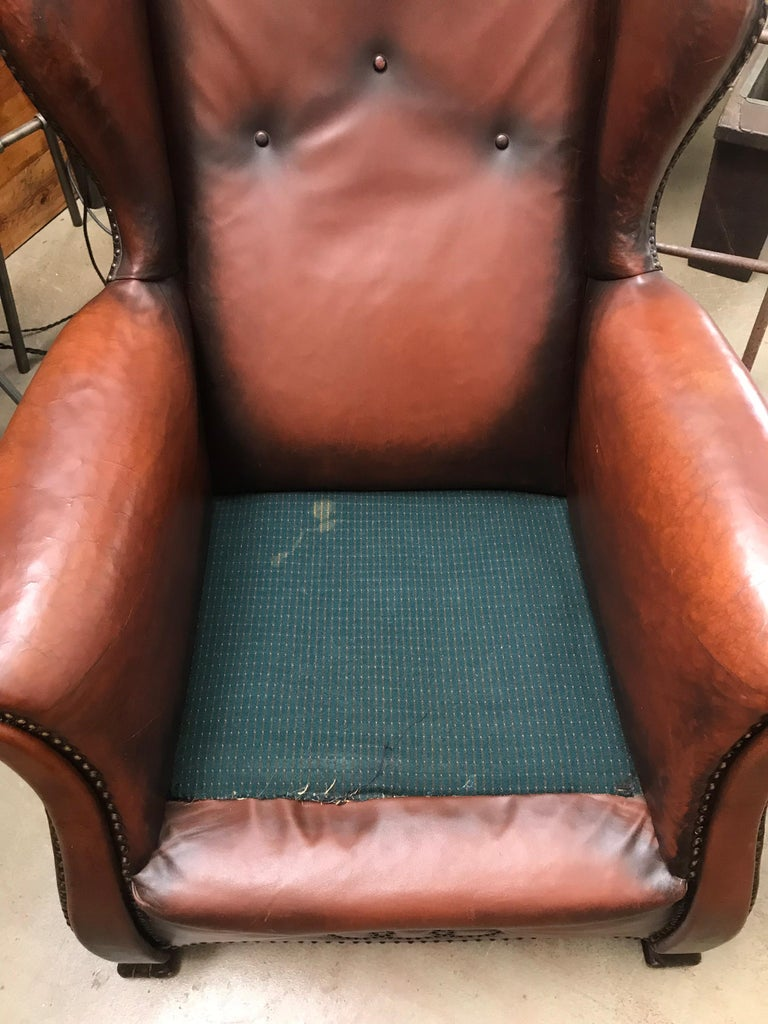 Beautiful Leather and Brass Studded Lounge Chair from the 1930s For Sale 3