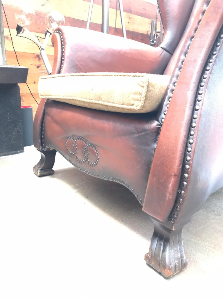 Art Deco Beautiful Leather and Brass Studded Lounge Chair from the 1930s For Sale