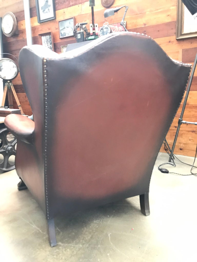 Danish Beautiful Leather and Brass Studded Lounge Chair from the 1930s For Sale