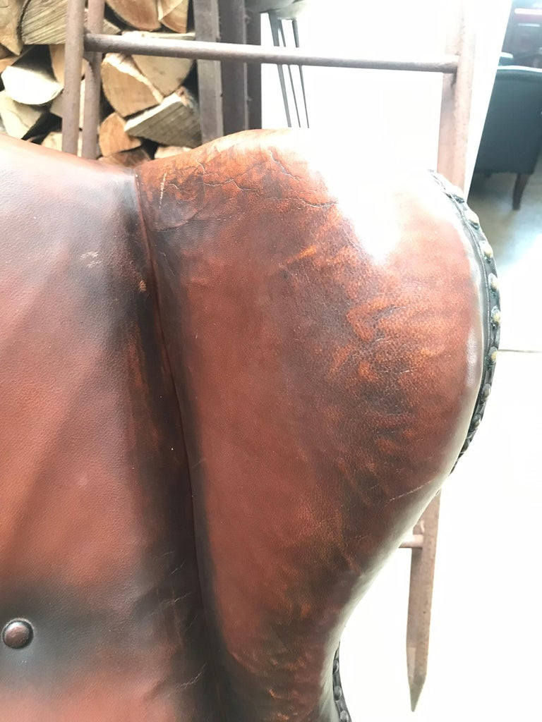 Oak Beautiful Leather and Brass Studded Lounge Chair from the 1930s For Sale
