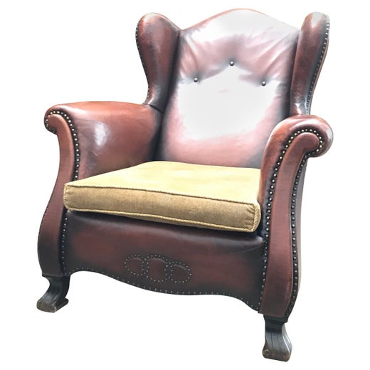 Stupendous Beautiful Leather And Brass Studded Lounge Chair From The 1930S Frankydiablos Diy Chair Ideas Frankydiabloscom