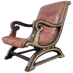 Beautiful Vintage Leather Cedar Chair with Camel Bone from Morocco