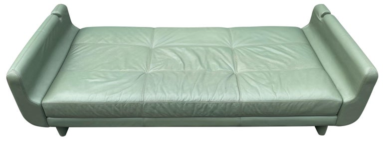 Beautiful Leather Matinee Daybed Sofa by Vladimir Kagan Sage Green Leather For Sale 5