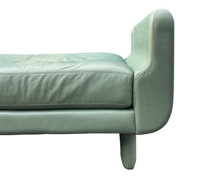 Beautiful Leather Matinee Daybed Sofa by Vladimir Kagan Sage Green Leather For Sale 8