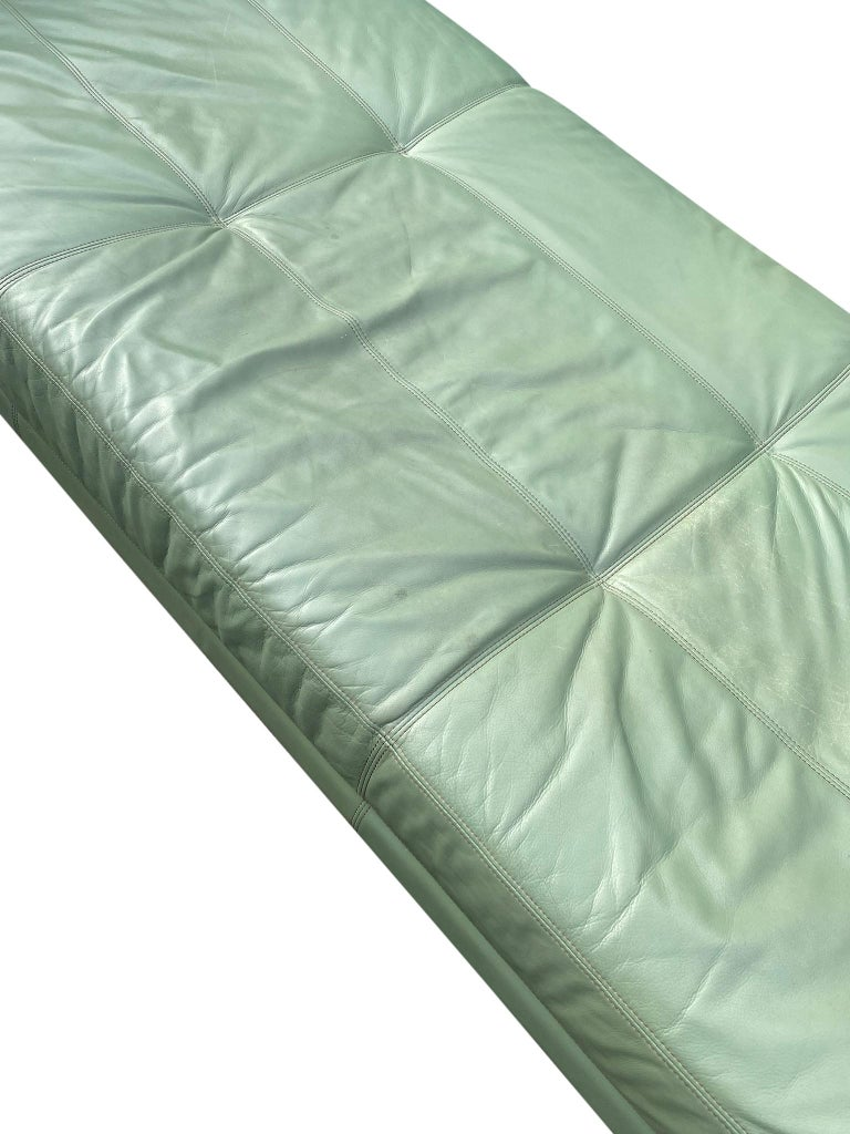 Beautiful Leather Matinee Daybed Sofa by Vladimir Kagan Sage Green Leather For Sale 9