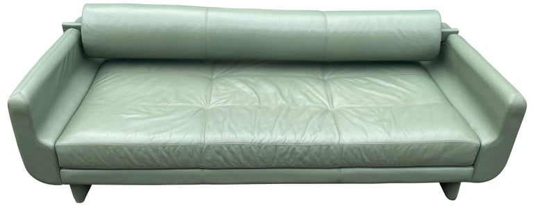 Beautiful designer leather matinee daybed sofa designed by Vladimir Kagan for American Leather Studios. Amazing light green sage soft leather. Has a (1) removable back bolster in sage green leather. When the back bolster is removed the sofa converts