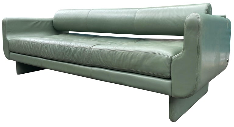Mid-Century Modern Beautiful Leather Matinee Daybed Sofa by Vladimir Kagan Sage Green Leather For Sale