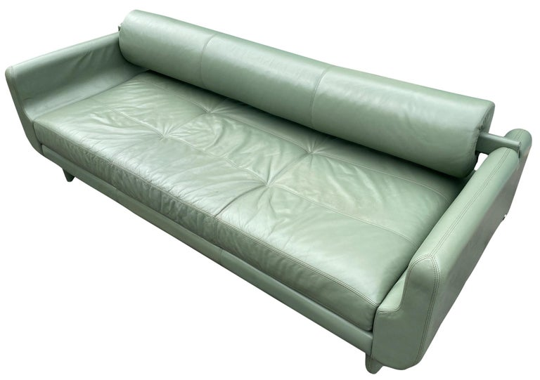 American Beautiful Leather Matinee Daybed Sofa by Vladimir Kagan Sage Green Leather For Sale