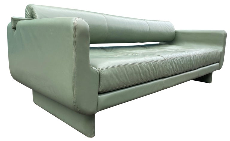 Beautiful Leather Matinee Daybed Sofa by Vladimir Kagan Sage Green Leather For Sale 1