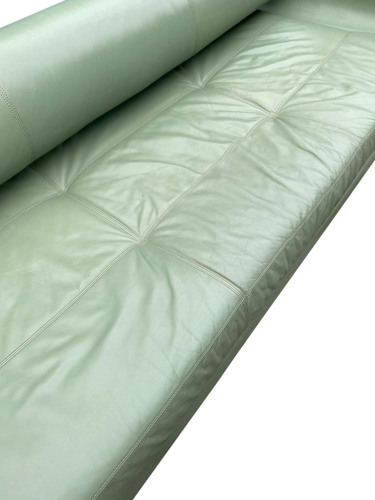 Beautiful Leather Matinee Daybed Sofa by Vladimir Kagan Sage Green Leather For Sale 2