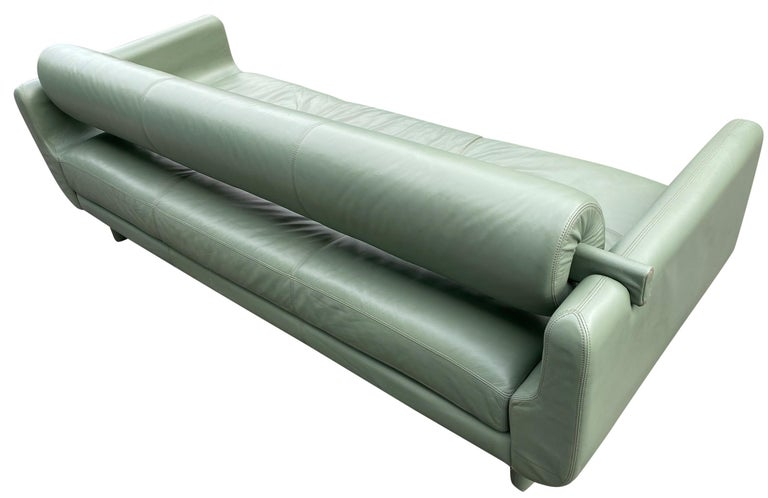 Beautiful Leather Matinee Daybed Sofa by Vladimir Kagan Sage Green Leather For Sale 3