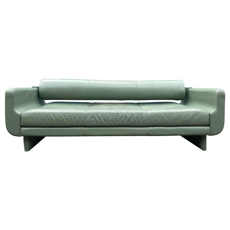 Beautiful Leather Matinee Daybed Sofa by Vladimir Kagan Sage Green Leather For Sale