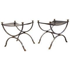 Beautiful Leather Stools or Ottomans in the Style of Maison Jansen