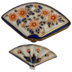 Beautiful Limoges France Hand Painted Porcelain Fan Trinket Box