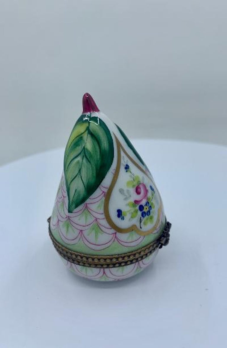 French Beautiful Limoges France Hand Painted Porcelain Pear Box with Bee Closure For Sale