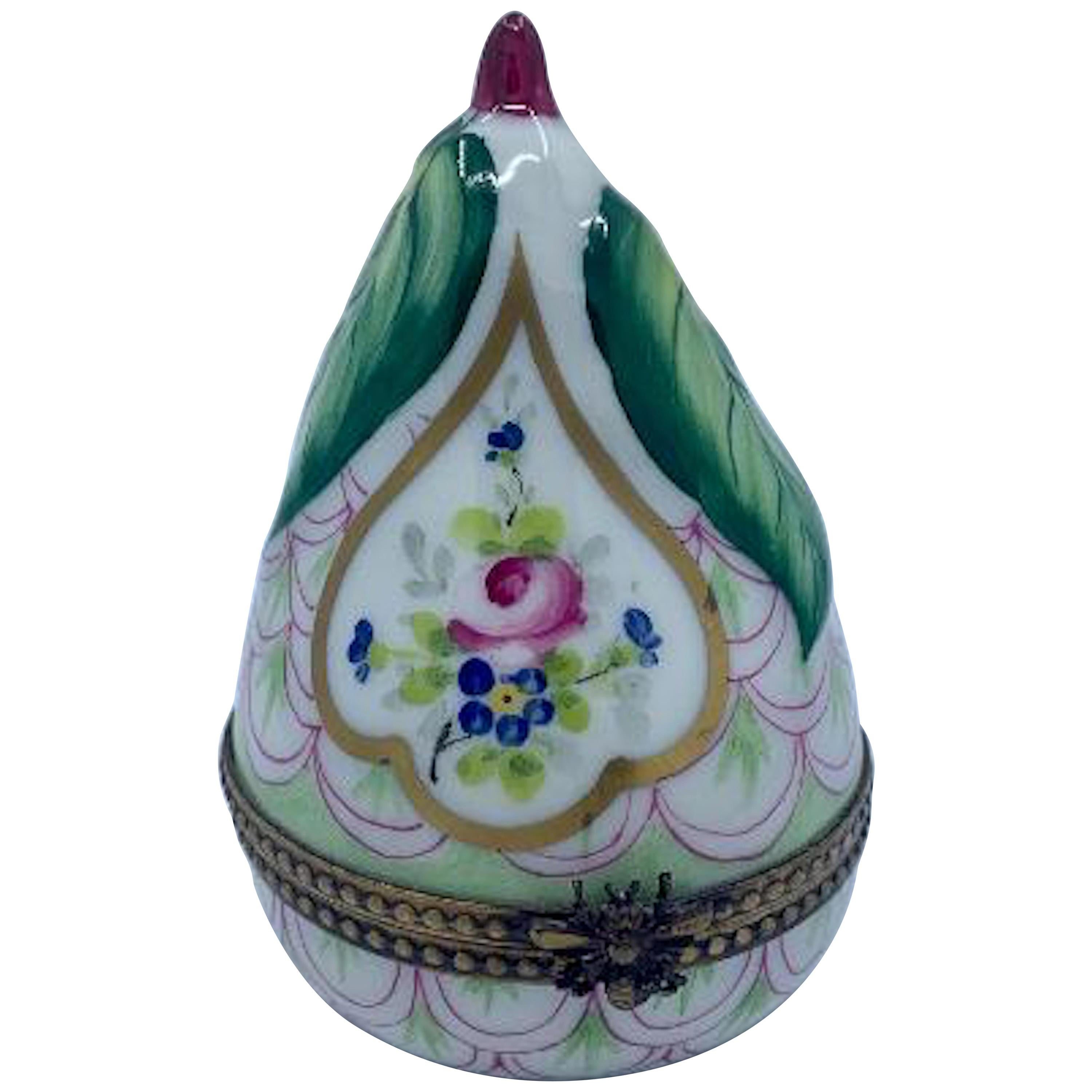 Beautiful Limoges France Hand Painted Porcelain Pear Box with Bee Closure