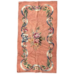 Beautiful Little Antique Aubusson Flat Rug Tapestry