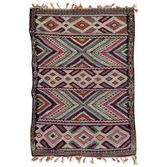 Beautiful Little Moroccan Antique Flat Rug