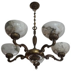 Beautiful Looking Classical Style Brass and Alabaster Chandelier / Light Fixture