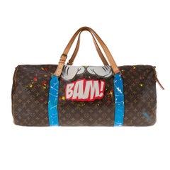 Beautiful Louis Vuitton  travel bag Keepall 60 in monogram canvas customized !