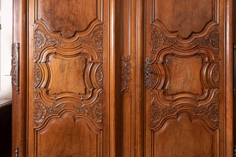 Beautifully carved 18th century. Walnut armoire.