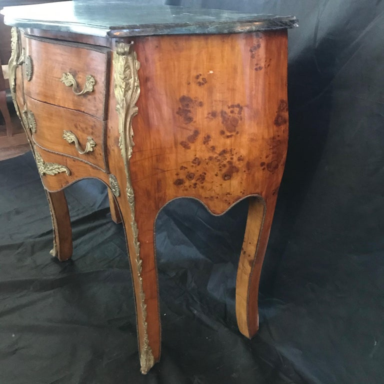 Beautiful Louis XV Petite Commode Nightstand or Side Table with Marble Top For Sale 5