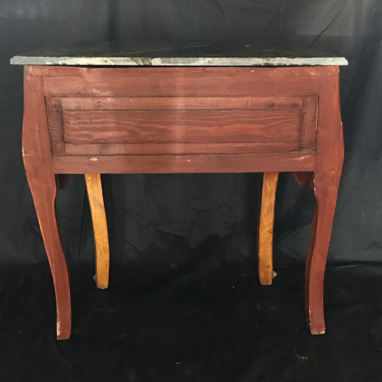 Beautiful Louis XV Petite Commode Nightstand or Side Table with Marble Top For Sale 7