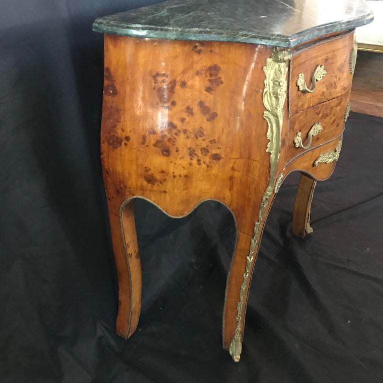 Walnut Beautiful Louis XV Petite Commode Nightstand or Side Table with Marble Top For Sale
