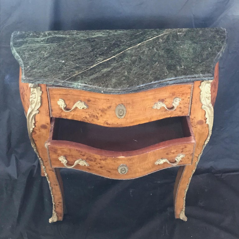 Beautiful Louis XV Petite Commode Nightstand or Side Table with Marble Top For Sale 2