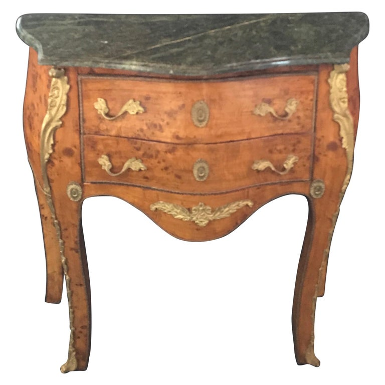Beautiful Louis XV Petite Commode Nightstand or Side Table with Marble Top For Sale