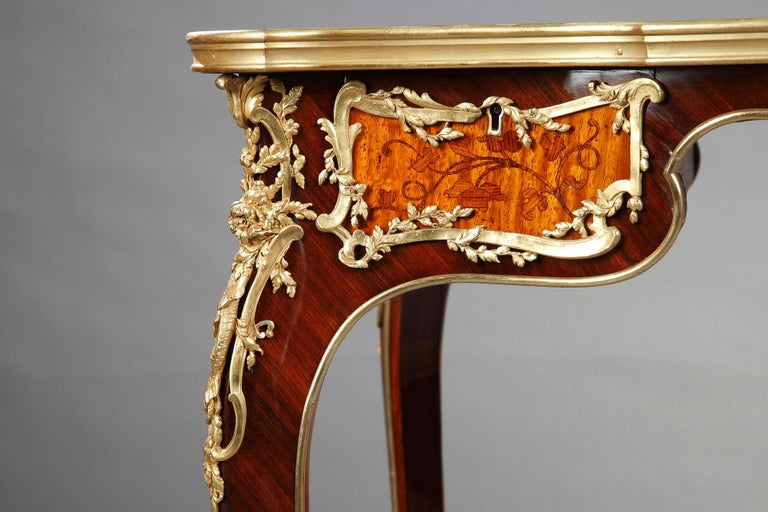 French Beautiful Louis XV Style Table Attributed to J.E. Zwiener For Sale