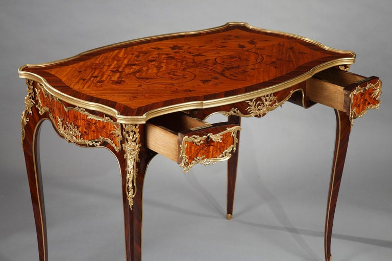 Wood Beautiful Louis XV Style Table Attributed to J.E. Zwiener For Sale