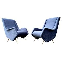 Beautiful Lounge Chairs in the Style of Carlo de Carli or Gio Ponti, Bronze
