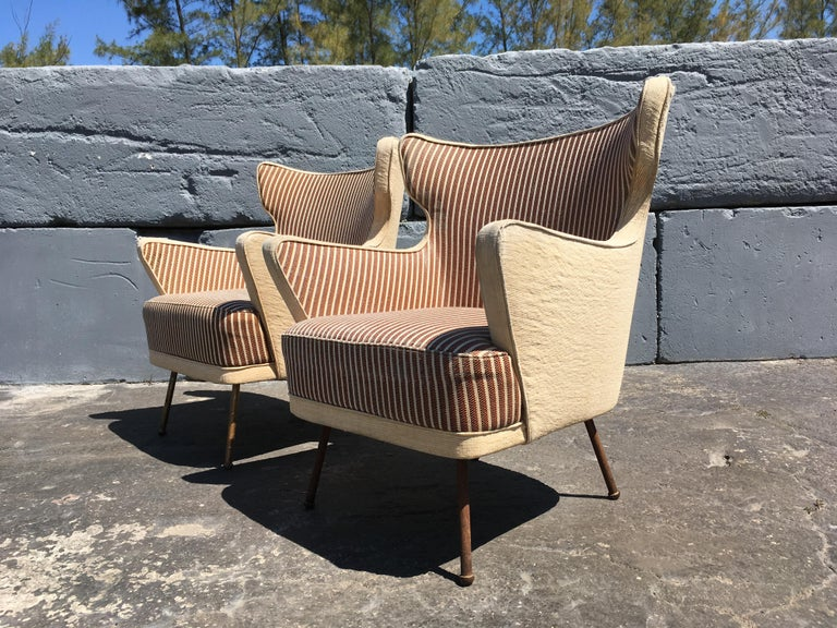 Metal Beautiful Lounge Chairs in the Style of Gio Ponti For Sale