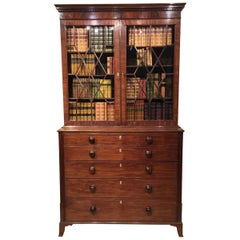Beautiful Mahogany Regency Period Secretaire Bookcase