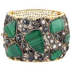 Beautiful Malachite Diamond Cuff in Silver and Gold