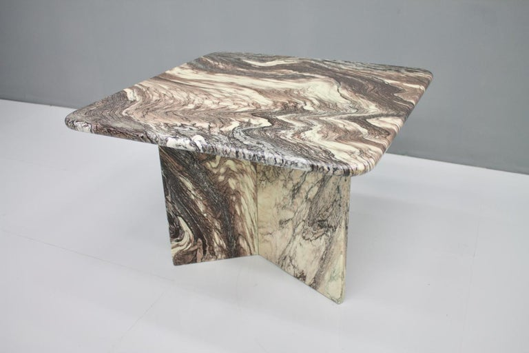 Italian Beautiful Marble Side Table, Italy, 1980s For Sale
