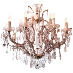 Beautiful Maria Theresa Thirteen-Light Chandelier, Italy, 1930s