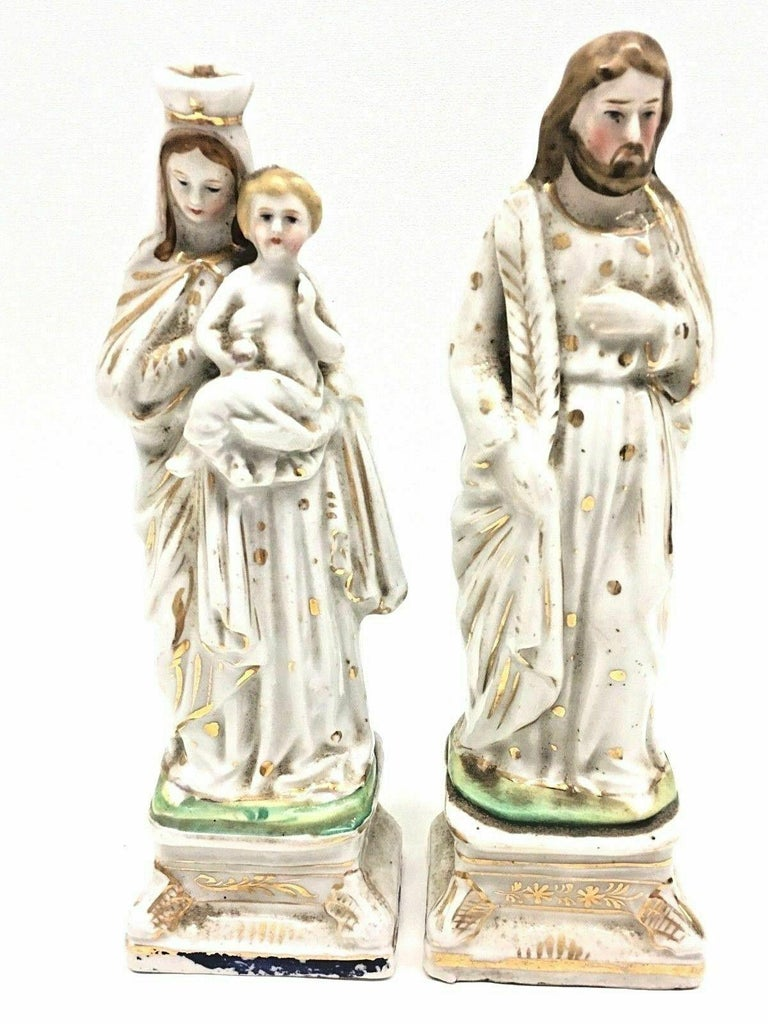 Beautiful porcelain statues or figures handmade in Germany, circa 1860s. A beautiful piece for any room. Measurements given for the Jesus statue. Statues are in the as found condition, with use and dust, but this is old-age.