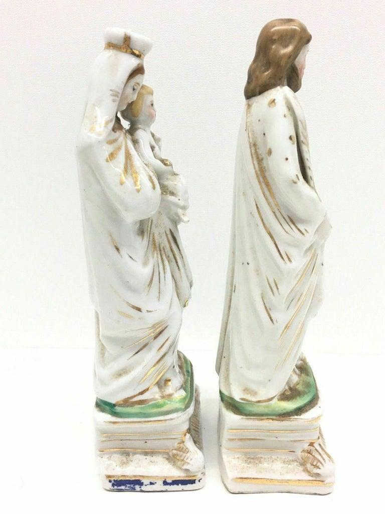 Biedermeier Beautiful Mary Joseph Jesus Porcelain Figures Antique, German, 1860s