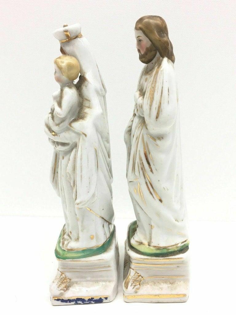 Beautiful Mary Joseph Jesus Porcelain Figures Antique, German, 1860s In Good Condition In Nürnberg, DE