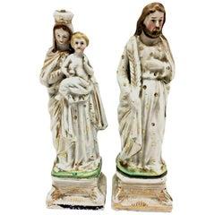 Beautiful Mary Joseph Jesus Porcelain Figures Antique, German, 1860s