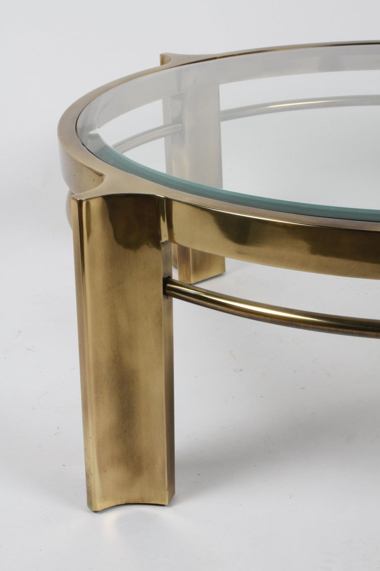 American Beautiful Mastercraft Round Brass & Glass Coffee Table, Hollywood Regency