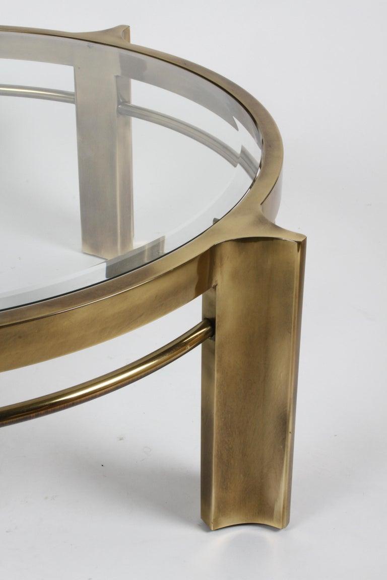 Beveled Beautiful Mastercraft Round Brass & Glass Coffee Table, Hollywood Regency